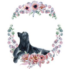 Watercolor floral wreaths with black panther