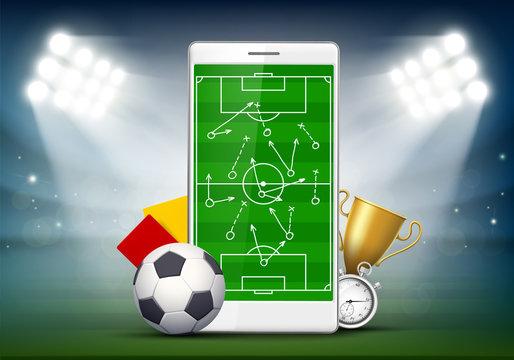 Soccer field on smartphone screen.