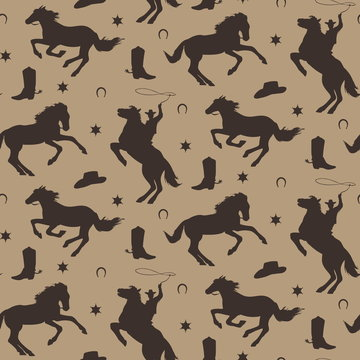 Wild west vector seamless pattern. Cowboy male background with horses, horseshoe, sheriff badge, boot, hat.