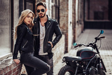 Romantic couple with motorcycle Wall mural
