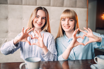 Smiling girlfriends shows the hearts with fingers