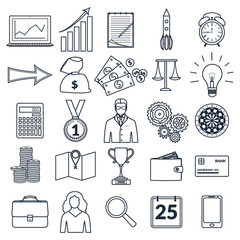 Set of outline business icons