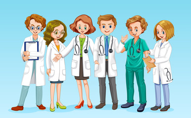 A Doctor Team on Blue Background