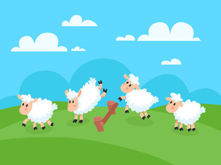 Counting jumping sheeps for goodnight sleep. Sheep jump over fence for insomnia vector concept illustration