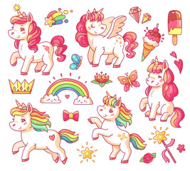 Cute flying baby rainbow unicorn with gold stars and sweet ice creams. Magic little pony fantasy unicorns cartoon vector set