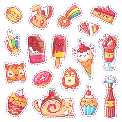 Patches of sweet strawberry dessert, cherry ice cream, positive happy animals faces and funny cartoon food vector fun stickers set