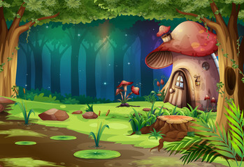 Mushroom House in the Dark Forest