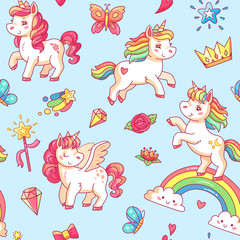 Cartoon babe pony sketch cute background. Miracle sweet dreams with magic unicorn, clouds and rainbow vector seamless pattern