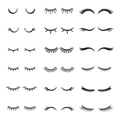 Pretty beauty closed eyes girl with shiny beautiful black eyelashes. Fabulous eyelash vector set