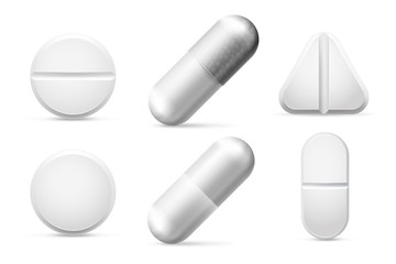 Round white cure pills, aspirin, antibiotics and painkiller drugs. Pain treatment pill and pharmaceutical drug vector set isolated