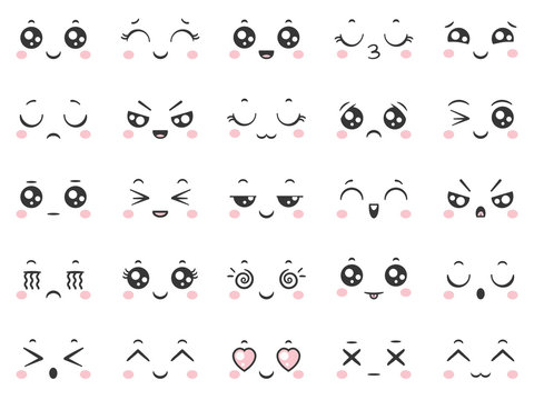 Cute doodle emoticons with facial expressions. Japanese anime style emotion faces and kawaii emoji icons vector set