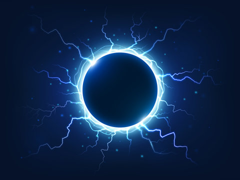 Spectacular thunder and lightning surround blue electric ball. Power energy sphere surrounded electrical lightnings vector background