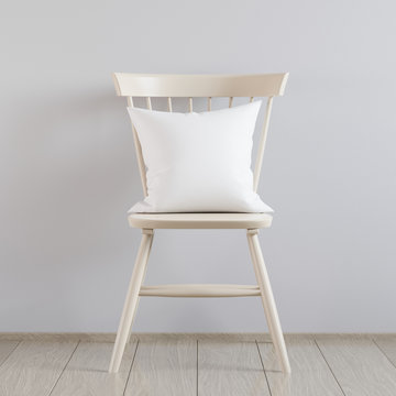 Blank white soft square pillow in the interior, 3D render
