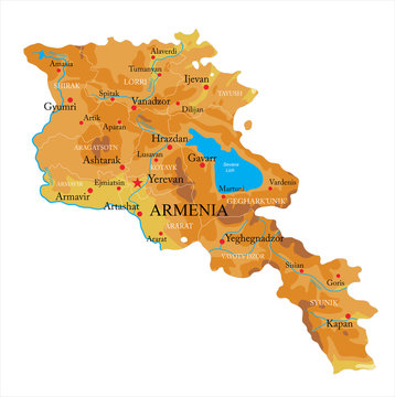 Armenia relief map