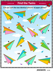 IQ training visual puzzle with colorful paper planes: Find the two identical paper plane images. Suitable both for children and adults. Answer included.