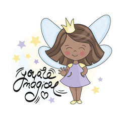 FAIRY DARK PRINCESS AND LETTERING Vector illustration and hand drawing text