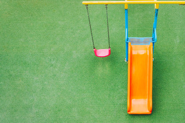 Children playground in public park wallpaper background, Top view with copy space