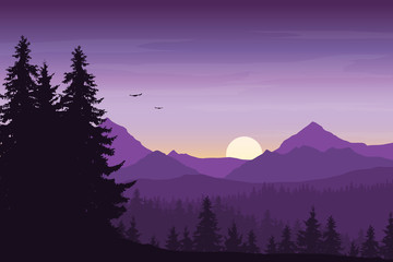 Fond de hotte en verre imprimé Prune Mountain landscape with forest under a purple morning sky with rising sun, birds and clouds