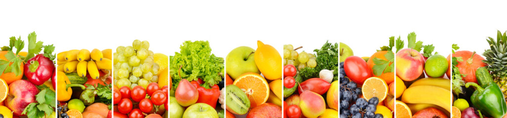 fruits and vegetables isolated on white background. Panoramic collage. Wide photo with free space for text.