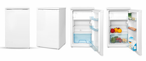 modern household refrigerator with food, four angles, isolated.