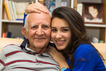 Grandfather and Granddaughter lifestyle in a home setting