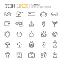 Collection of summer thin line icons