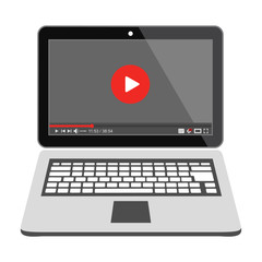 Laptop with Media player on the screen. Online video.