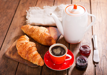 breakfast with croissants, coffee and jam