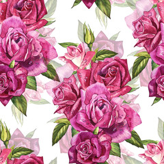 Natural pink roses background. Seamless pattern of red and pink roses, watercolor illustration.