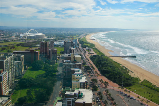 """Aerial view of Durban """"Golden Mile"""" beach looking east, KwaZulu-Natal province of South Africa"""