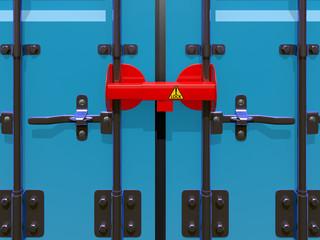 3D illustration of cargolock on door container.