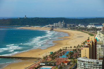 "Aerial view of Durban's ""Golden Mile"" beachfront, KwaZulu-Natal province of South Africa"