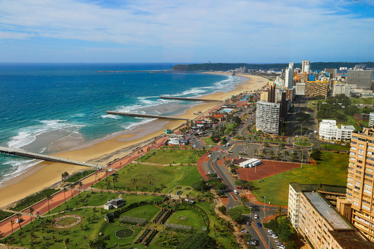 """Aerial view of Durban's """"Golden Mile"""" beachfront from a rooftop, KwaZulu-Natal province of South Africa"""