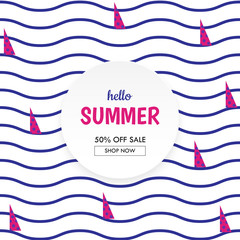 Sea waves and Yacht sailing summer sale banner.