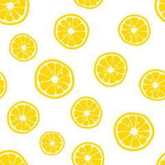 Lemon slices pattern. Citrus background. Vector illustration