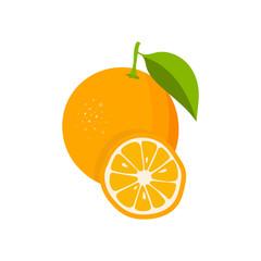 Orange with leaves and slice of orange. Flat orange. Citrus icon. Vector illustration