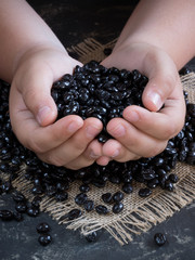 hands offering a handful of coffee beans