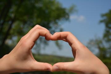 Hände zeigen ein Herz mit Natur als Hintergrund
