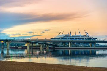 St. Petersburg, Krestovsky Island. Russia. Neva River. highway. Stadium. Channels of Petersburg. Cities of Russia. Bridges of Petersburg. City landscape.