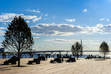 Rest zone on the waterfront. People relax in the sun loungers. Park on the waterfront. Summer day.
