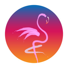 Stylish flat design flamingo Icon, sunset background. Vector silhouette of flamingo. Logo design for the company. Isolated or white background