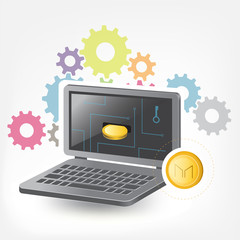Maker Cryptocurrency Coin Laptop Trade Background