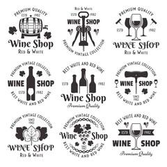 Wine shop set of vector black vintage emblems