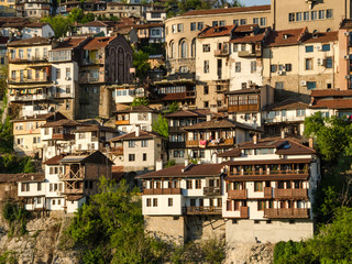 Scenic view at old town Veliko Tarnovo, old capital of Bulgaria. Traditional bulgarian architecture. Lovely spring morning.