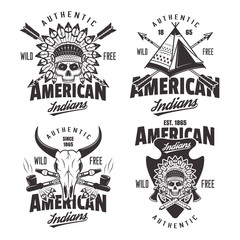 American indians set of four vintage emblems