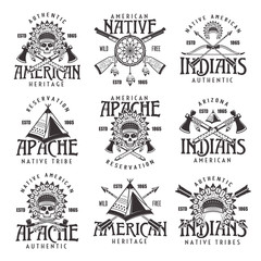 Native american indians emblems isolated on white