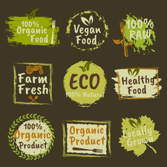 Organic products and vegan food colored emblems
