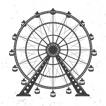 Ferris wheel vector monochrome illustration