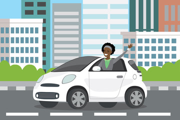 young happy african american woman auto driver rides in white car,