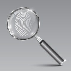 Magnifying glass instrument search fingerprint – stock vector